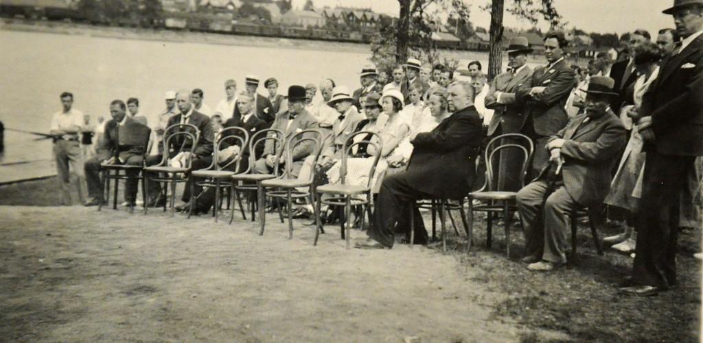 Hamar Roklub Åpningen av båthus på Tjuvholmen i 1934 frammøtte
