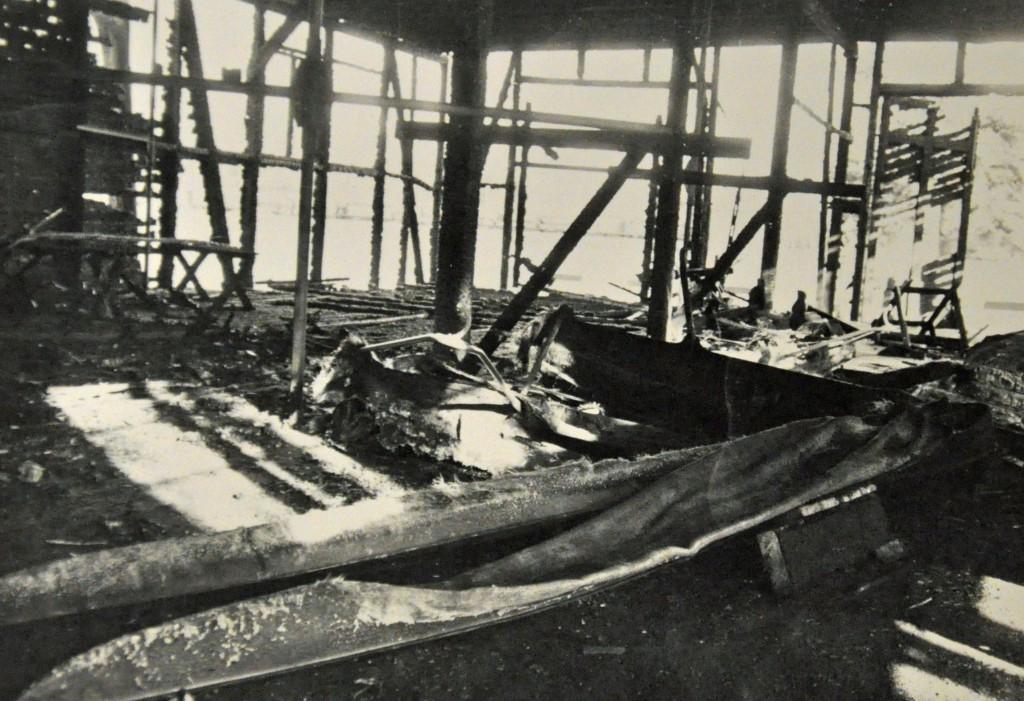 Hamar Roklub Båthuset innvendig etter brannen i 1980